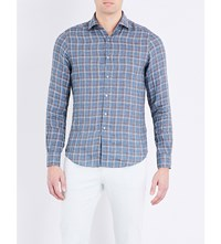 Boglioli Fitted Check Print Linen Shirt Blue Teal