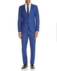 Hugo Micro Box Check Slim Fit Suit Bright Blue