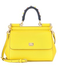 Dolce And Gabbana Sicily Small Leather Shoulder Bag Yellow