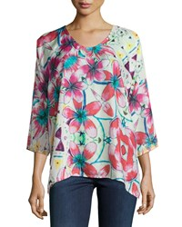 Johnny Was Barra 3 4 Sleeve Floral Print Blouse Women's Multi Pink