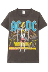Madeworn Ac Dc Distressed Printed Cotton Jersey T Shirt Anthracite