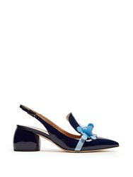 Anya Hindmarch Apex Patent Leather Slingback Pumps Navy Multi