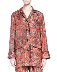 Lanvin Long Sleeve Metallic Print Pajama Inspired Top Fire Red