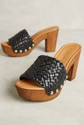 Anthropologie Sandro Rosi Isa Woven Clogs Black 39 Euro Wedges