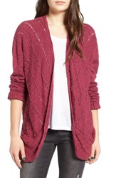 Roxy Women's Waiting On You Ladder Stitch Cardigan Raspberry Radiance