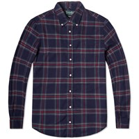 Gitman Brothers Vintage Gitman Vintage Indigo Flannel Check Shirt Navy And Red