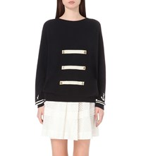 Chinti And Parker Anchor Embellished Cashmere Jumper Navy Cream