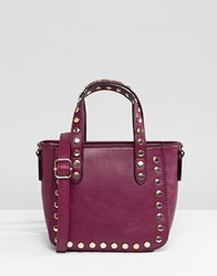 Yoki Fashion Small Tote Bag In Wine With Studs Red