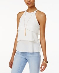 Amy Byer Bcx Juniors' Tiered Ruffle Top With Necklace White