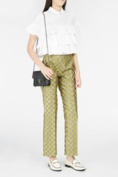 Giamba Women S Floral Jacquard Cropped Trousers Boutique1 Yellow