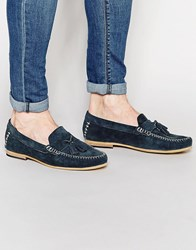 Frank Wright Suede Tassel Loafers In Navy Blue