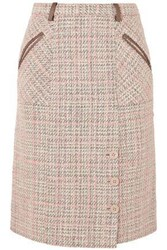 Agnona Woman Leather Trimmed Tweed Skirt Pastel Pink