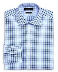 Bloomingdale's The Men's Store At Bold Check Regular Fit Dress Shirt Blue