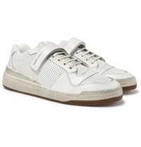 Saint Laurent Sl24 Perforated Leather Sneakers White