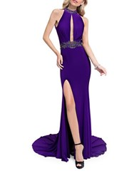 Glamour By Terani Couture Beaded Train Gown Purple