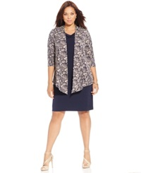 Connected Plus Size Cowl Neck Shift Dress And Jacket Midnight
