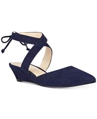 Nine West Elira Pointed Toe Two Piece Wedges Women's Shoes Navy Suede
