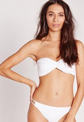 Missguided Twist Bandeau Bikini Top White Mix And Match