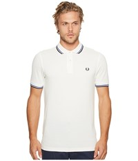 Fred Perry Twin Tipped Shirt Snow White Regal Navy Men's Short Sleeve Knit