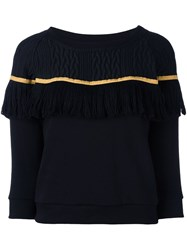 Christian Pellizzari Fringed Stripe Sweatshirt Black