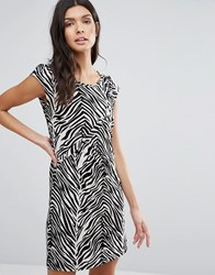 Pussycat London Animal Print Shift Dress Black