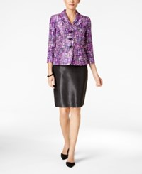 Le Suit Three Button Printed Skirt Orchid Multi