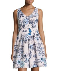 Taylor Sleeveless Floral Print Fit And Flare Dress White Blue