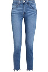 3X1 W3 Cropped Frayed High Rise Straight Leg Jeans Blue