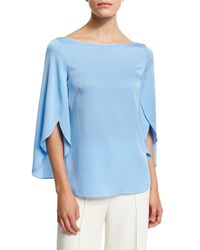 Milly Bateau Neck Butterfly Sleeve Satin Blouse Sky