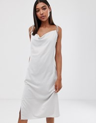 Weekday Cami Dress With Cowl Neck In Light Grey Beige