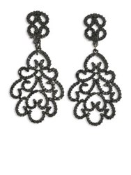Kenneth Jay Lane Jet Filigree Crystal Clip On Earrings Jet Black