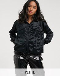 Noisy May Petite Zoe Long Sleeve Satin Utility Shirt Black