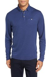 Ted Baker Men's Big And Tall London Woven Trim Polo Mid Blue