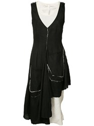 Barbara I Gongini Raw Asymmetric Dress Women Cotton Linen Flax 38 Black