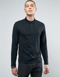 Allsaints Long Sleeve Polo Shirt With Branding Jet Black