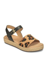 Aerosoles Global Leather Espadrille Sandals Leopard