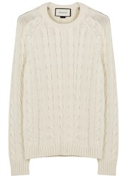 Gucci Ivory Cable Knit Cotton Blend Jumper White