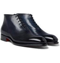 Santoni Whole Cut Burnished Leather Oxford Boots Navy