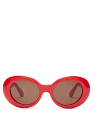 Acne Studios Mustang Oval Acetate Sunglasses Red Black