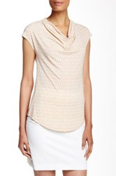 Laundry By Shelli Segal Drape Front Printed Cap Sleeve Blouse Beige