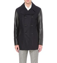 Bally Double Breasted Virgin Wool And Leather Peacoat Multiink