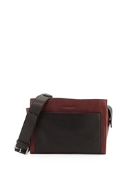 Charles Jourdan Fraiser Colorblock Pebbled Leather Crossbody Bag Wine Black