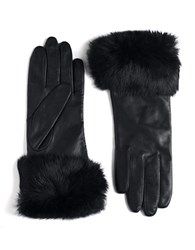Lord And Taylor Leather Rabbit Fur Cuff Gloves Black