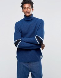 Wood Wood Jaques Roll Neck Jumper Chest Stripe Blue Melange