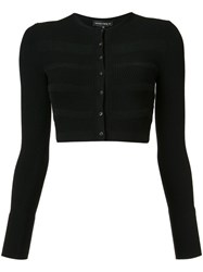 Narciso Rodriguez Cropped Striped Accent Cardigan Black
