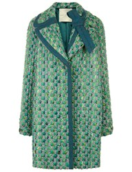 Marco De Vincenzo Green Tweed Double Breasted Coat