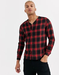 Religion Baseball Shirt With Long Sleeves In Red Check
