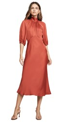 Rebecca Taylor Short Sleeve Satin Tie Dress Carnelian