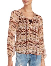 Jessica Simpson Morgan Lace Up Peasant Blouse Brown