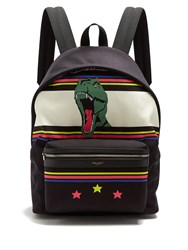 Saint Laurent City Dinosaur Print Canvas Backpack Black Multi